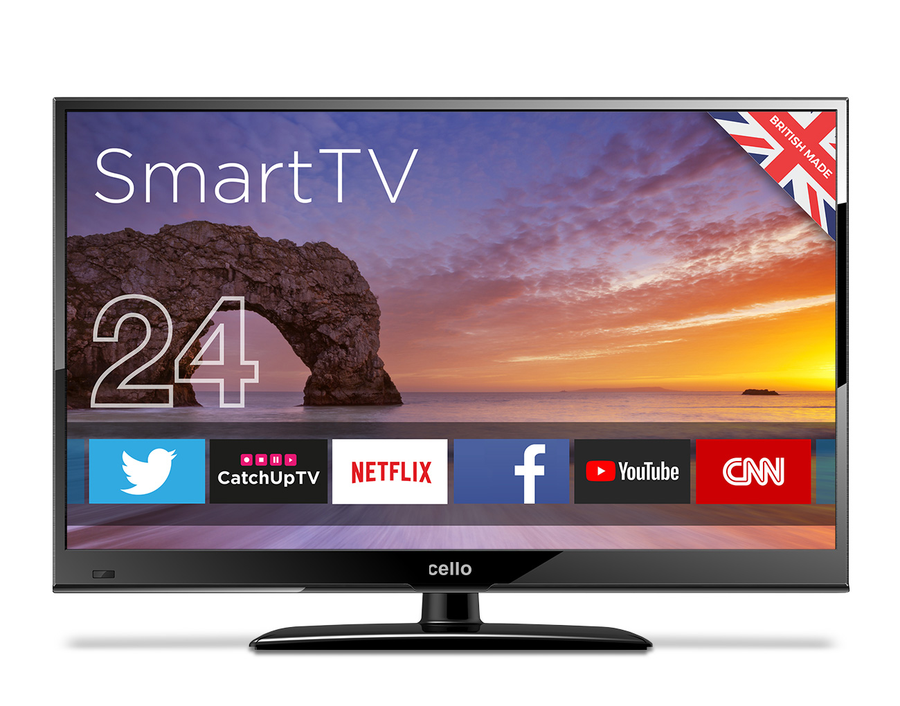"""24"""" Smart LED TV with Wi-Fi and Freeview T2 HD Ready - Cello"""