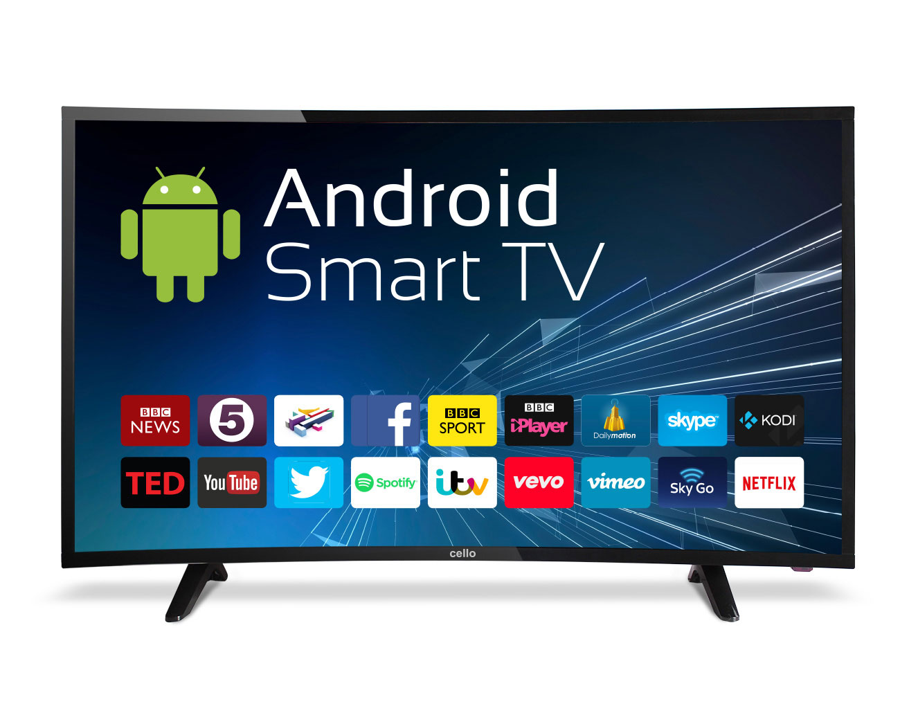 """40"""" Curved Android Smart LED TV with Wi-Fi and Freeview T2 HD"""