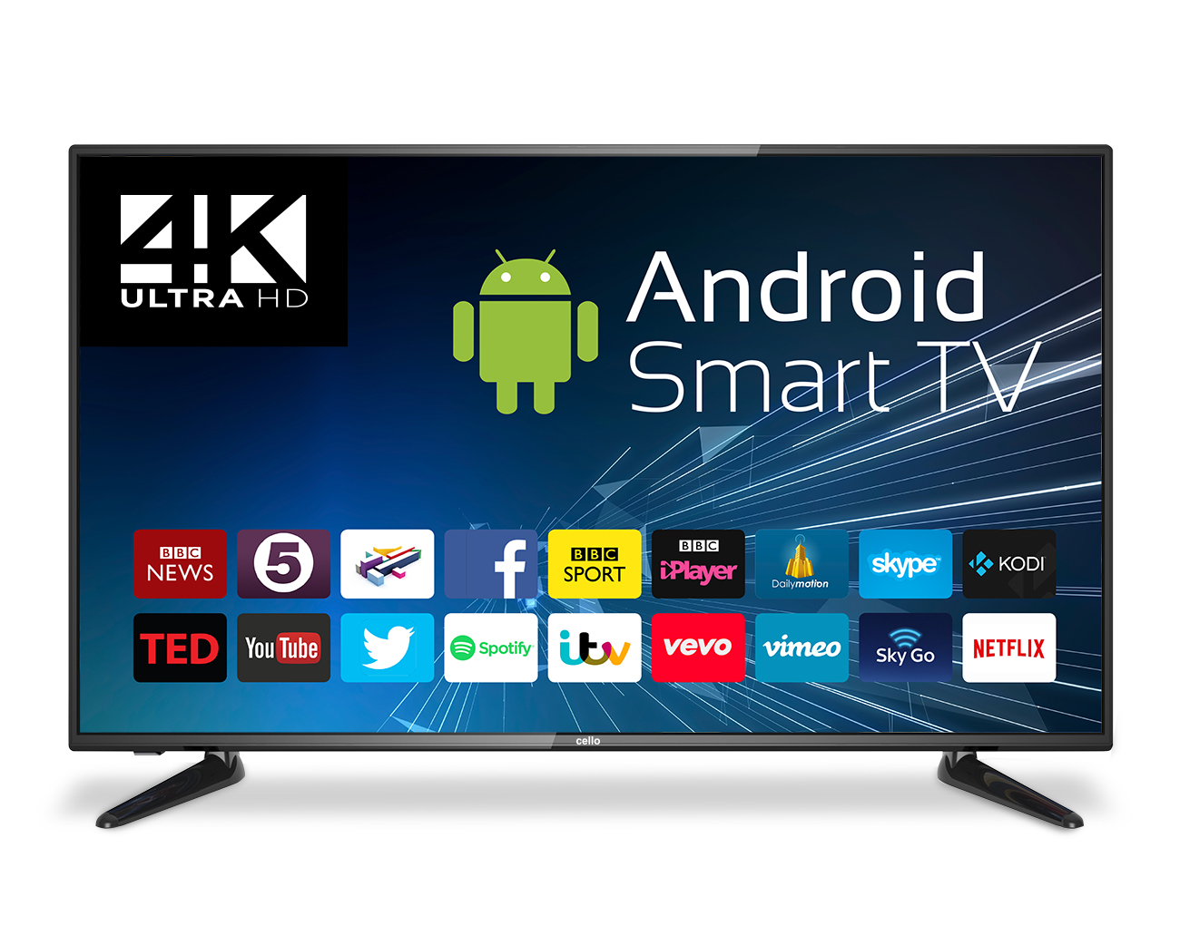 "43"" 4K UHD Android Smart LED TV with Freeview T2 HD - Cello"