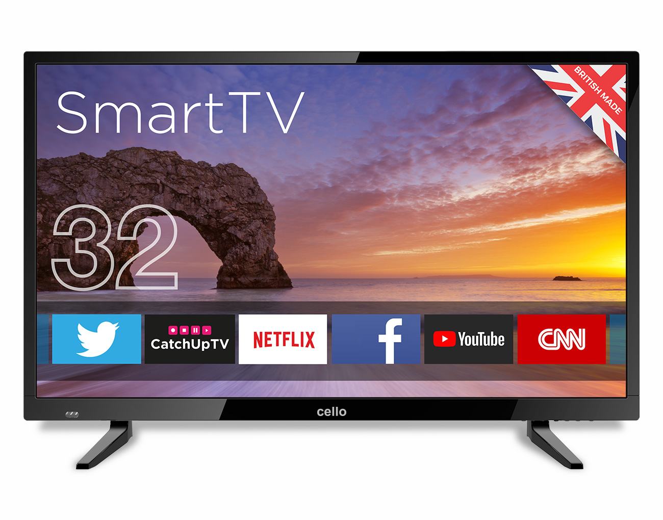 "7544d55a06704 32"" Smart Freeview T2 HD LED TV with Wi-Fi - Cello Electronics (UK) Ltd"